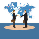 Two businessmen. Man and woman. Handshake. Stock Photos
