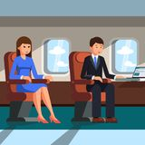 A man and a woman are sitting in the cabin of the plane. Vector illustration. Royalty Free Stock Photos