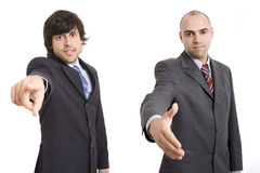 Two businessmen pointing and shaking Stock Image