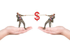 Two businessmen pull a cord Stock Photo