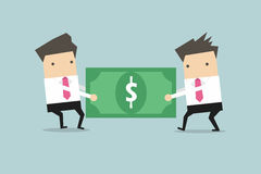 Two businessmen are pulling the dollar to each other. Vector illustration Royalty Free Stock Images