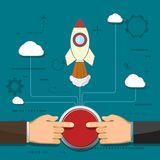 Two businessmen push the button. Rocket is flying in the clouds. Partnership and cooperation. Creative and success in a business startup. Two businessmen push Stock Photography