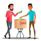 Two Businessmen Putting Money In A Donation Box Vector. Isolated Illustration royalty free illustration