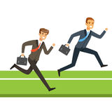 Two businessmen running with briefcase, business people competition vector Illustration Royalty Free Stock Photos