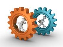 Two businessmen running inside cogwheels. Two 3d businessmen are running inside cogwheels as a competition Stock Photo
