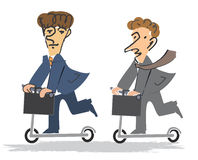 Two Businessmen on the Scooter Royalty Free Stock Photo