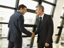 Two businessmen shake hands. Two businessmen shake hands in an office Stock Image