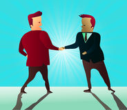 Two businessmen shaking hands as they sign a partnership agreement. Two handshaking men agree with each other vector illustration