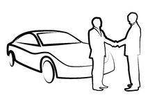 Two businessmen shaking hands in front of a car - illustration ,. Vector - buying a car Stock Photography