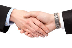 Two businessmen shaking hands on an isolated background Royalty Free Stock Image