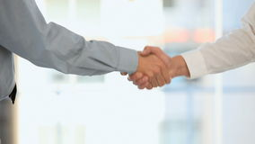 Two businessmen shaking hands. In an office stock footage