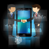 Two businessmen shaking hands and smart phone Royalty Free Stock Images