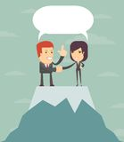 Two businessmen shaking hands to seal an agreement. bubble speech. Royalty Free Stock Images