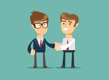 Two businessmen shaking hands to seal an agreement. Vector Royalty Free Stock Photos