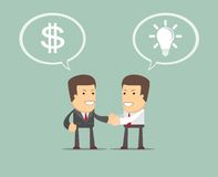 Two businessmen shaking hands to seal an agreement. Vector Stock Photo