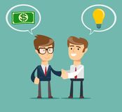 Two businessmen shaking hands to seal an agreement. Vector illustration for business design and infographic Stock Photo