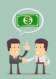 Two businessmen shaking hands to seal an agreement. Vector illustration for business design and infographic Royalty Free Stock Photography