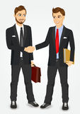 Two businessmen shaking hands. Two young businessmen shaking hands happy standing negotiating Royalty Free Stock Photo