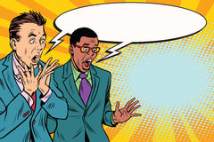 Two businessmen shocked, multi-ethnic group royalty free illustration