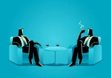 Two businessmen sitting on sofa Stock Photos
