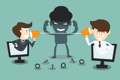 Two businessmen speaking with a  hacker spy listening. The cartoon Business idea concept Royalty Free Stock Image