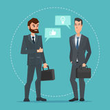 Two businessmen standing, talking, discussing negotiating. Business cartoon concept. Vector creative color illustrations flat design in flat modern style royalty free illustration