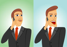 Two businessmen talking on the phone Stock Images