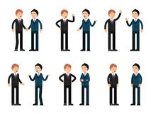 Two businessmen talking. Vector characters stock illustration