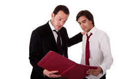 Two businessmen talking about work, tired-looking Stock Photography