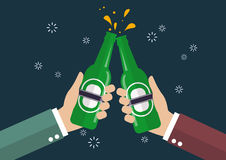 Two businessmen toasting bottle of beer vector illustration