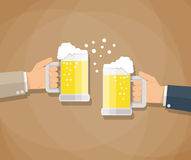 Two businessmen toasting glasses of beer royalty free illustration