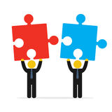 Two businessmen trying to connect red and blue puzzles. Merger concept. Two businessmen trying to connect red and blue puzzles. Vector illustration isolated on Stock Images