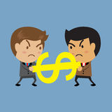 Two businessmen in a tug of war battle. For leadership or business competition, business concept Stock Image