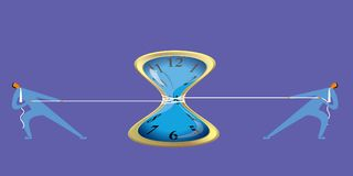 Two businessmen tug of war,common pull clock. Brainstorming.background is purpel Royalty Free Stock Images