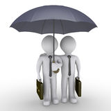 Two businessmen under one umbrella. Two 3d businessmen holding suitcases are under an umbrella Royalty Free Stock Photo