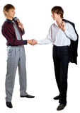 Two businessmen on white. Two young businessmen on white background. Isolation Stock Photo