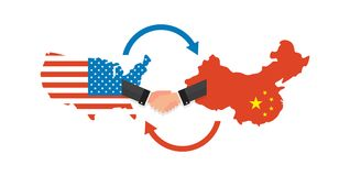 Two businesspeople handshake after good deal. US America and China flags on map. USA and China trade relations stock illustration