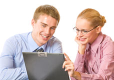 Two businesspeople with laptop Stock Images