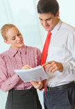 Two businesspeople at office Stock Photos