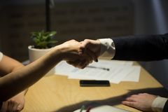 Two businesspeople shake hands to seal a deal. Stock Photos