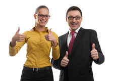 Two businesspeople showing their thumbs up Stock Photo
