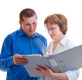 Two businesspeople with thick folder of documents Royalty Free Stock Photography