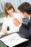 Two businesspeople working. Together at office stock photo