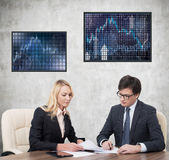 Two businesspeople working Stock Image