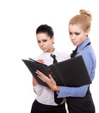 Two businesswoman with black folder Stock Photography