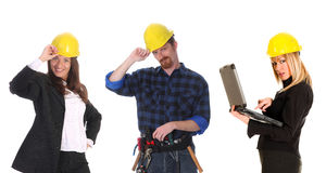 Two businesswoman and construction worker stock photos