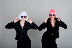 Two businesswoman in glasses for 3d movie Royalty Free Stock Photography