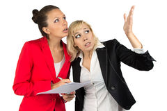 Two businesswoman looking up Stock Photography