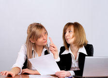 Two businesswoman in office Stock Images