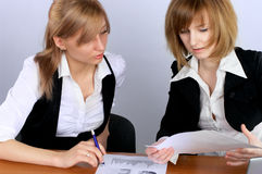 Two businesswoman in office Stock Photo